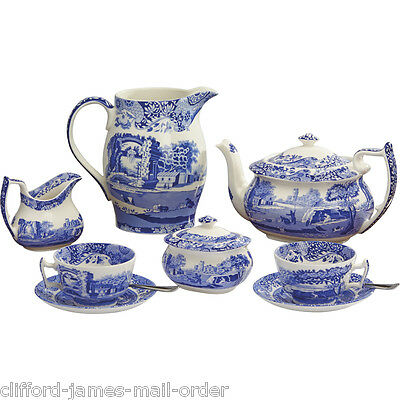 Spode Blue Italian Afternoon Tea Collection Liverpool Jug Teapot Sugar Box Cream