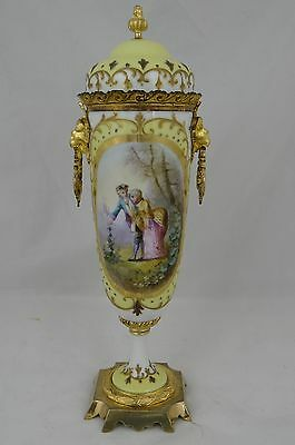 Antique French Sevres Yellow and Gilt Ormolu Porcelain Urn Signed