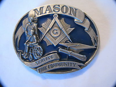 Nice 1992 Siskiyou Masonic Mason Freemasonry Serving The Community Belt Buckle
