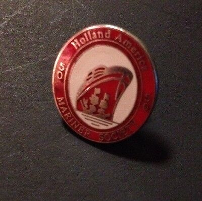 Holland America Mariner Society 50 Year Pin Red And White Enamel Oval Pinback