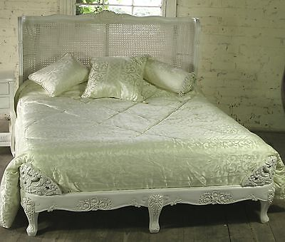 Mahogany Carved 5' King Size French Ant White Bed Rattan Head Board  New