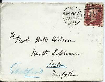 GB 1869 1d Red Pl.102 Cover with Malvern 497 Duplex to Scole/Thetford