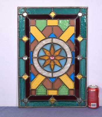 *Antique French Stained Glass Panel with Leaded Framing 1