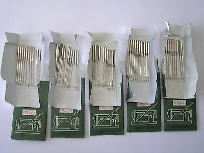 50 Sewing Machine Needles 80/12 Fits Toyota Brother Janome Singer Pfaff Silver +