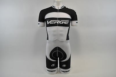 Brand New Verge Primo Men's Euro Short Sleeve Cycling Skinsuit, XL, White/Carbon