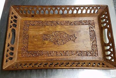 Antique Decorative India Hand Carved 15 Inch Wood Floral Serving Catch-All Tray