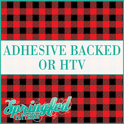 Red Buffalo Plaid Pattern Adhesive Craft Vinyl or HTV for Crafts or Shirts!