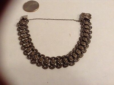 Antique Sterling Marcasite Silver Link Bracelet Safety Chain Art Deco Beautiful