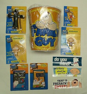 Set of 10 Family Guy Collectibles Bundle- Bendy Figures, Trash Can