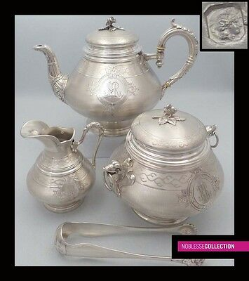 ANTIQUE 1890s FRENCH FULL STERLING SILVER TEA POT SET 3 pc Napoleon III style