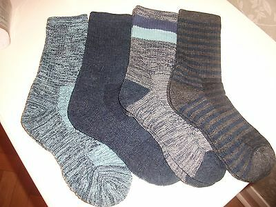 Pack Of 4 Pr Kirkland Ladies Trail Walking Socks Merino Wool Blend Uk 3-8 Blues