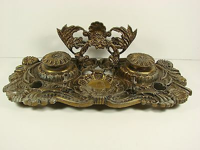 Large Antique Double Ink Stand with Pen Holders, Ornate Brass, From Portugal