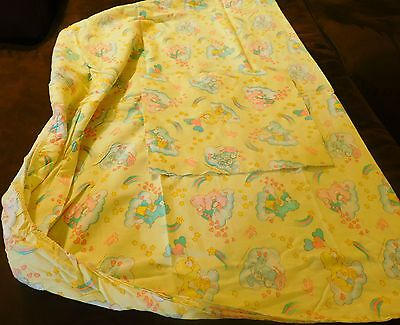 "Care Bears Crib Fitted Bed Sheet 35""x58"" - Vintage American Greetings Bedding"