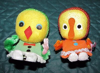 Vintage Easter Flocked Chenille Chick w Egg & Duck w Purse Mid Century Decor