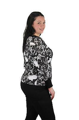 01c7004f96e32 New Ladies Plus Size Long Sleeve Banded Skull and Rose Gothic Batwing Top  Sizes
