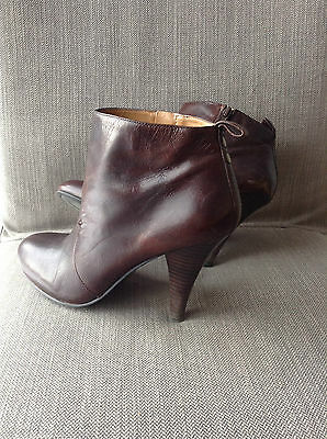 Brown Leather Ankle Pixie Boots Booties High Heel Pointed toe Womens Sz 7.5