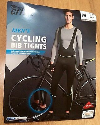 Crivit Cycling Bib Tights Winter Padded Long Leggings Trouser Black Size L 42/44