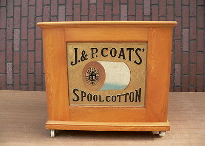 6 Drawer J & P COATS Sewing Thread Spool Cotton Cabinet chest w embossed back