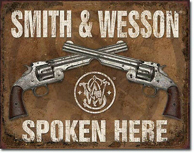 Smith & Wesson Metal Sign/Poster - Spoken Here