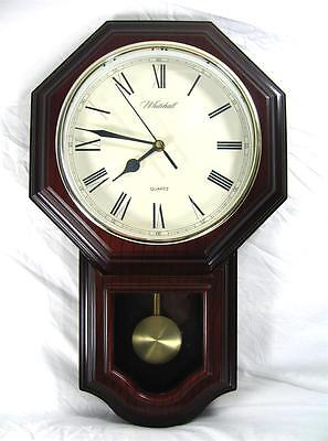Large Antique Edwardian Style Wall Clock With Pendulum By Whitehall Pristine