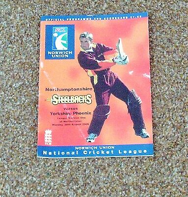CRICKET PROGRAMME- NORTHANTS V YORKSHIRE (League Division One 28th August 2000)