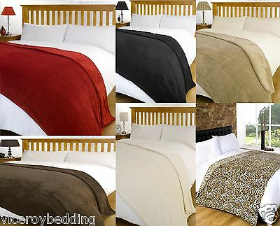Luxury Warm Super Soft Large Fleece Sofa Bed Blanket Throw - Range of Colours