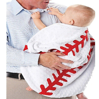 Mud Pie Baby Boy Infant Baseball Crib Blanket Toddler Round Soft Minky Material