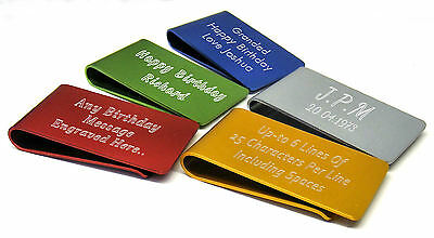 Personalised, Large Anodised Money Clip Engraved Birthday Gift
