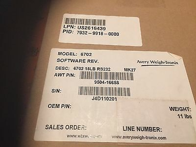1 new Avery Berkel Model 6702 Point of Sale Retail Scale 15 lb. cap. RS232