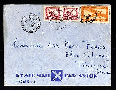 14917-INDOCHINA-AIRMAIL COVER TOORANE to TOULOUSE (france)1949.WWII.Indochine.