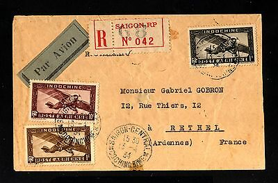 14922-INDOCHINA-AIRMAIL REGIST.COVER SAIGON to RETHEL(france)1934.WWII.Indochine