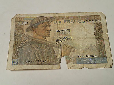 1946 France - 10 Francs Bill, Banknote, Currency. Paper Money, Circulated