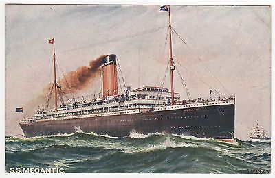 SS MEGANTIC PC Postcard WHITE STAR LINE Cruise Ship LINER Liverpool ENGLAND UK