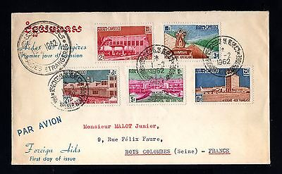 14796-CAMBODIA-AIRMAIL FDC.COVER PHNOM-PENH to COLOMBES (france)1962.CAMBODGE.