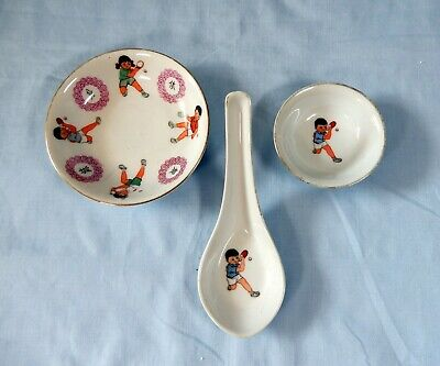 Antique Chinese porcelain tableware from Lilang Ping Pong Design Republic Period