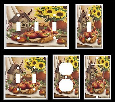 Birdhouse Apple Basket Sunflower Country Design Light Switch Cover Plate
