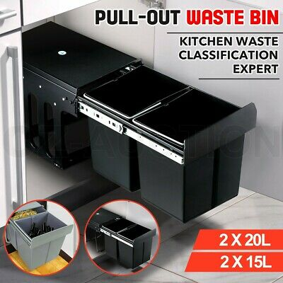 Pull Out Bin Kitchen Waste Basket Slide Out Twin Garbage Rubbish Cabinet 30L 40L