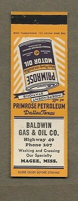 Baldwin Gas & Oil Co Magee Mississippi  Oil Dallas Texas Flat Matchcover A385