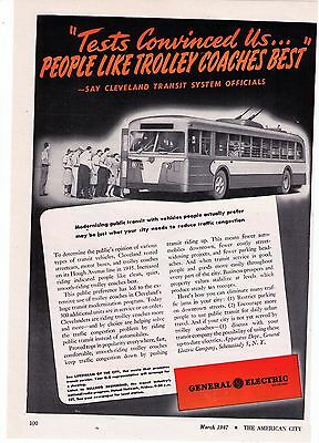 """1947 Vintage General Electric """"Cleveland Ohio"""" Trolley Coaches Print Advert"""