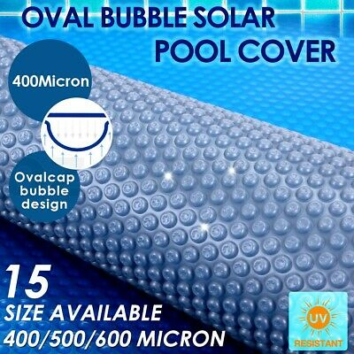 400/500/600 Micron Outdoor Solar Swimming Pool Cover Oval Bubble Blanket 15 Size