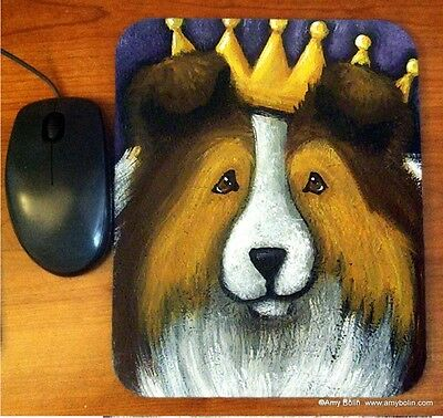 MOUSE PAD SHELTIE SHETLAND SHEEPDOG SABLE THE QUEEN BY  Amy Bolin
