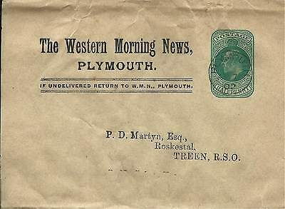 GB 1902 1/2d Green Western Morning News Newspaper Wrapper from Plymouth to Treen