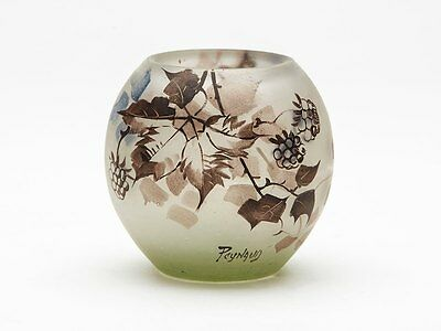 Jean-Simon Paynaud Fruiting Stem Etched Glass Vase C.1910