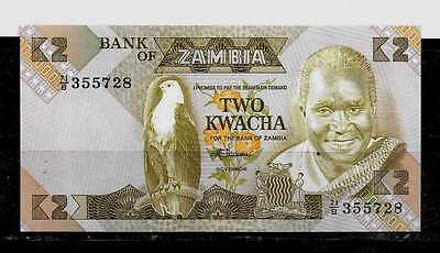 ZAMBIA #24c 1988 UNcirculated OLD 2 KWACHA BANKNOTE BILL CURRENCY PAPER MONEY
