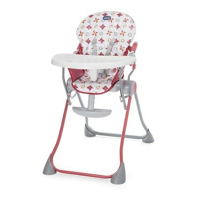 Chicco Pocket Meal Highchair (Red) with reclining back and easy to fold