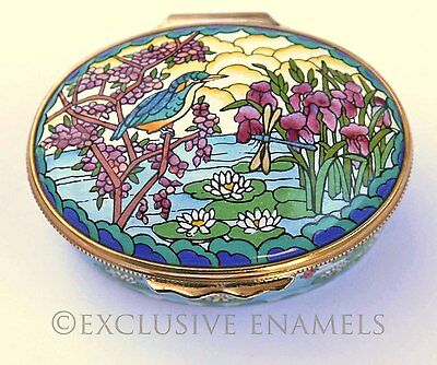Halcyon Days Enamels Stained Glass Kingfisher Enamel Box