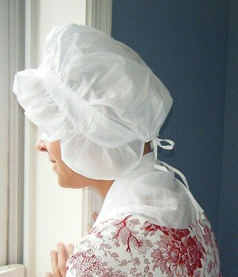 Colonial Round Eared Reenactment Cap Costume Cotton or Linen