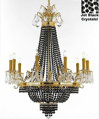 "French Empire Crystal Chandelier H32"" W25"" - Dressed with Jet Black Crystals!"