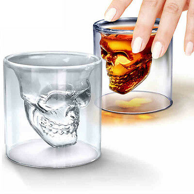Double Crystal Layer Glass Skull Head Cup Clear Drinking Bar Ware Shot Glasses