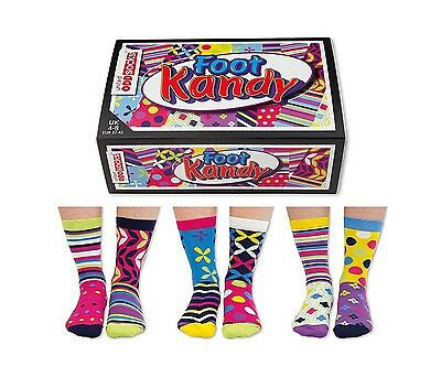 Foot Kandy United Oddsocks Everyday Women Size 4 - 8 UK Six Socks All Odd Random